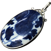 Large Chinese Antique Blue and White Porcelain Fragment Pendant with Sterling Silver Setting
