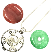 Amazing Red and Green Jade with Sterling Silver Three Way Openable Box-Pendant Silver Chain Necklace