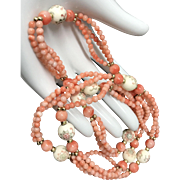 """Vintage Pink Angel Skin Coral Beaded Endless Style Necklace 32.5"""""""