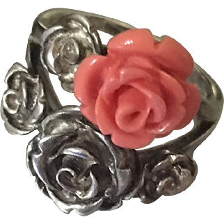 Vintage Folli Follie Sterling Silver and Faux Coral Rose Flower Ring US Size 6 / EU Size 52