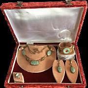 Antique Chinese Gilt Sterling Silver Filigree Carved Jade/Jadeite Necklace Bracelet Earrings Ring Set