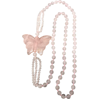Carved Large Rose Quartz Butterfly with Two Size Beads No Stop Necklace