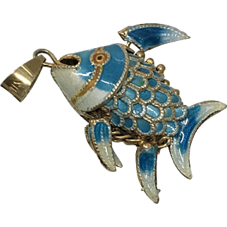 Vintage Chinese Sterling Silver Filigree Enamel Fish Pendant or Charm
