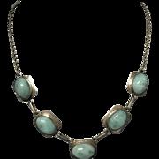 Vintage Sterling Silver Blue Green Larimar Necklace