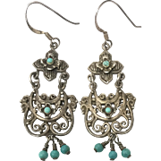 Vintage Sterling Silver Turquoise Chandelier Earrings BARSE