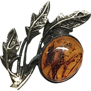Antique Signed 800 Silver Leaves with Natural Amber Cabochon Pin Brooch