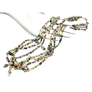 "Multi Gemstone Peridot Moonstone Tourmaline Topaz Amethyst Garnet Agate Crystal 4-Strand Beaded Sterling Silver Necklace 23"""