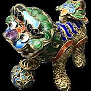 Vintage Chinese Gilt Filigree Silver Cloisonné Enamel Foo Lion