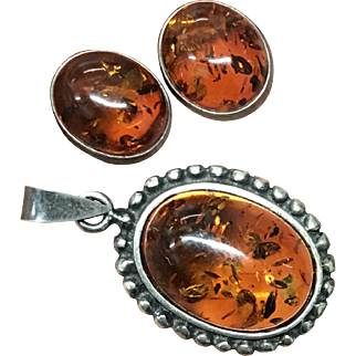 Vintage Natural Amber Sterling Silver Earring and Pendant Set