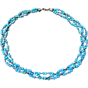 Beautiful Blue Stone Beads Woven Necklace Sterling Silver Clasp
