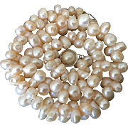Stunning Pale Mauve Pink Cultured Baroque Fresh Water Pearls Necklace 16 inches