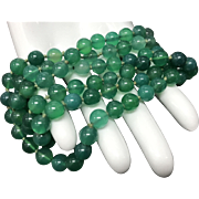 Vintage Natural Green Carnelian Hand Knotted Beaded Endless Style Necklace 32.5 inches