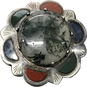 Victorian Scottish Sterling Silver and Moss Agate Pin Brooch