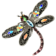 Vintage Chinese Sterling Silver Filigree Enamel Dragonfly Pin Brooch