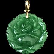 Vintage 18K Yellow Gold Chinese Carved Rich Green Jade/ Jadeite Flower Pendant