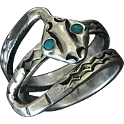 Vintage Sterling Silver Bypass Snake with Turquoise Eyes Adjustable Ring
