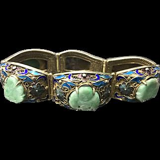 Vintage Chinese Gilt Filigree Sterling Silver Enameled Jade/Jadeite Bracelet with Safety Chain