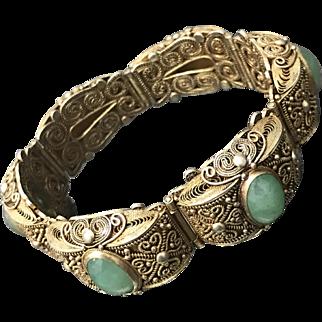 Vintage Chinese Gilt Filigree Sterling Silver Jade/Jadeite Bracelet