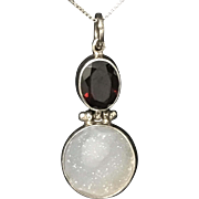 Beautiful Sterling Silver Garnet Agate Pendant with Silver Chain Necklace