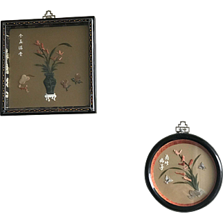 Pair of Vintage Chinese Black Lacquer Jade Coral Picture Plaques