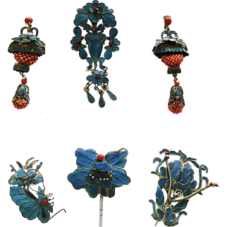 Extraordinary Antique Qing Dynasty Chinese Kingfisher Feathers Coral Jewelry Set