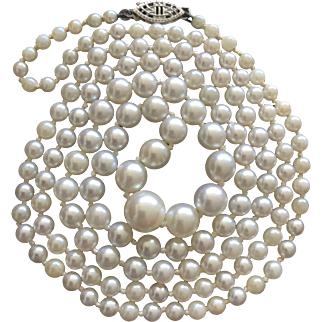 """Stunning Vintage Graduated Round Genuine Cultured White South Sea Pearls Hand Knotted Necklace 32"""""""