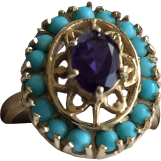 Vintage Handcrafted 10K Yellow Gold Amethyst Persian Turquoise Cocktail Ring Size 7
