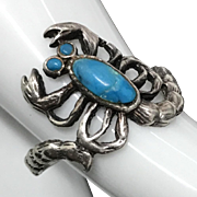 Vintage Sterling Silver Scorpion with Turquoise  Eyes and Body Ring Size 7.25