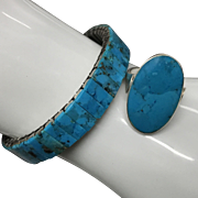 Vintage Sterling Silver Blue Turquoise Ring and Blue Turquoise with Stainless Steel Watchband Style Bracelet Set