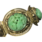 Antique Chinese Gilt Filigree Sterling Silver Carved Apple Green Jade/Jadeite Bracelet with Safety Chain