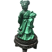 Vintage Chinese Carved Malachite Miniature Kwan-Yin/Lady Figure On Inlaid Wooden Stand