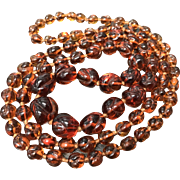 """Vintage Amber Glass Beaded Graduated Endless Style Necklace 31"""""""