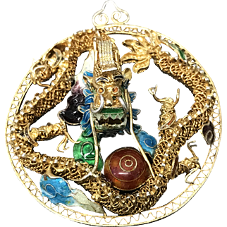 Vintage Chinese Gild Sterling Silver Filigree Enamel Dragon Pendant