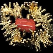 Vintage Henkel & Grosse Germany 1967 Gold-tone Nugget Red Coral Pin Brooch