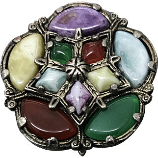 Victorian Scottish Old Colourful Glass Pin Brooch