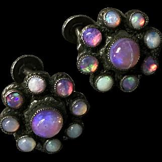 Vintage Amazing Opal Sterling Silver Earrings