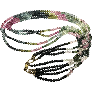 Vintage Multi Strands Natural Colourful Tourmaline Beaded Necklace