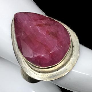 Vintage Large Tear Drop Ruby Ring Size 7.5