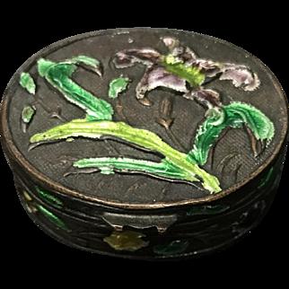 Vintage Little Enamel Flower Brass Poison Box 1920's