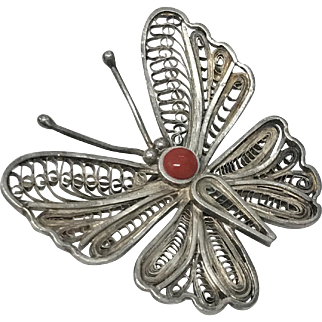 Vintage Filigree Sterling Silver Natural Red Coral Butterfly Pin Brooch