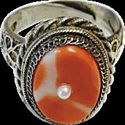 Vintage Gild Filigree Sterling Silver Natural Salmon Coral Adjustable Ring