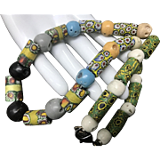 Vintage Venetian Art Glass Millefiori African Trade Beads Necklace