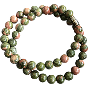 Nature Green and Pink Jasper Stone Beaded Necklace 16 Inches