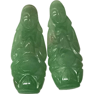 Pair of Antique Chinese Hand Carved Apple Green Jade/Jadeite Kwan Yin 1910's