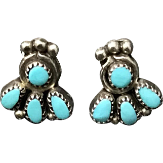 Vintage Sterling Silver Natural Blue Turquoise Earrings