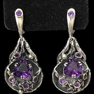 Vintage Sterling Silver Natural Amethyst Earrings