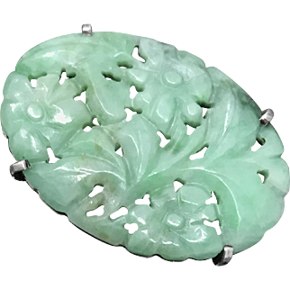 Fabulous Antique Chinese Hand Carved Apple Green Jade/Jadeite Sterling Silver Pin Brooch
