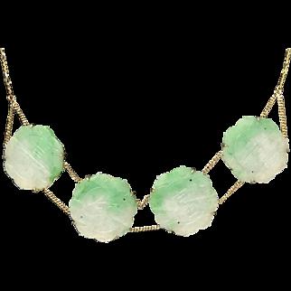Vintage 14K Gold Chinese Hand Carved Apple Green Jade/Jadeite Necklace