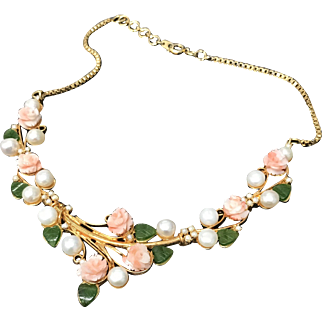 Vintage Angel Skin Coral Jade Freshwater Pearl Gold Plated Necklace