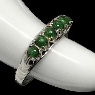 Vintage 18K White Gold Green Jade/Jadeite Ring Size 6.25